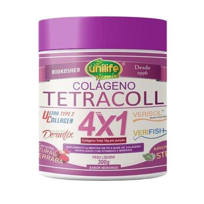 Colágeno 4 em 1 Tetracoll Unilife 300g Morango