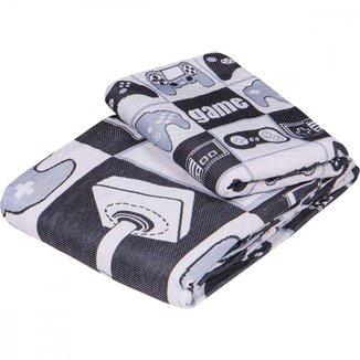 Colcha Infantil 1 Porta Travesseiro Jacquard Gamer