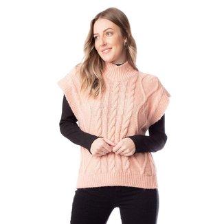 Colete Feminino Biamar Tricô Rosa Claro