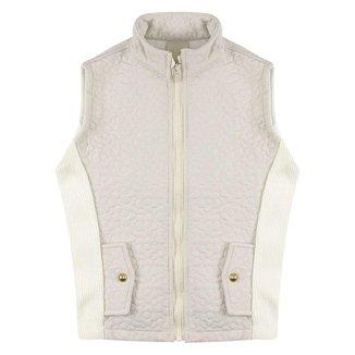Colete Look Jeans Matelassê Off-White - UNICA - 4