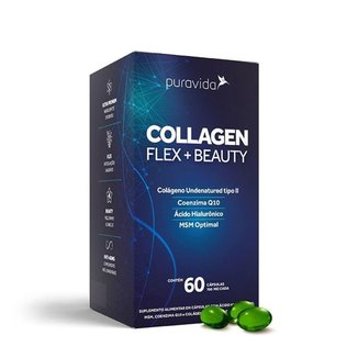 Collagen Flex Beauty Colágeno Tipo 2 MSM Ácido Hialurônico COQ10 60 cáps Puravida