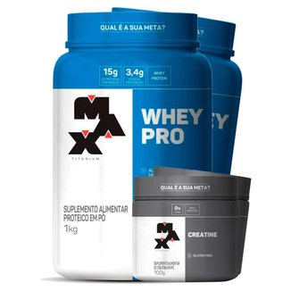 Combo 2 x Whey Pro 1 kg + 2 x Creatina 100g - Max Titanium