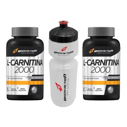 Combo 2x L-Carnitina 180 Caps 2000mg + Squeeze Body Action