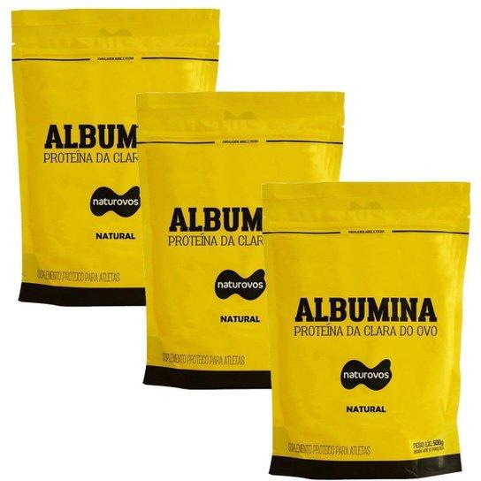 Combo - 3 Albumina Refil - 500g Natural - Naturovos -