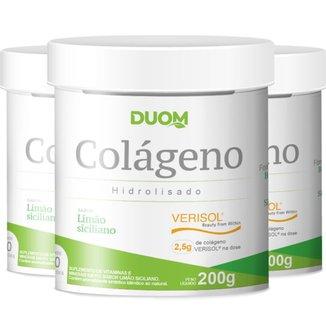 COMBO 3 COLÁGENO VERISOL LIMÃO SICILIANO 600G TOTAL - DUOM