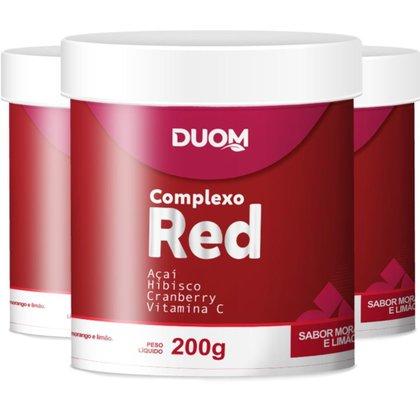 COMBO 3 COMPLEXO RED SABOR MORANGO E LIMÃO 200G CADA - DUOM
