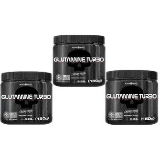 Combo 3 x Glutamina Turbo 150g cada black skull