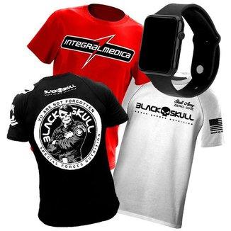 Combo 3x Camiseta de Academia para Treino - Black Skull + Integralmédica + Relógio