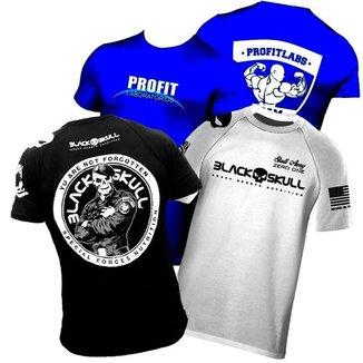 Combo 3x Camiseta Dry Fit - Branca + Preta Black Skull + Azul Profit Roupa / Blusa Esportiva de Trei