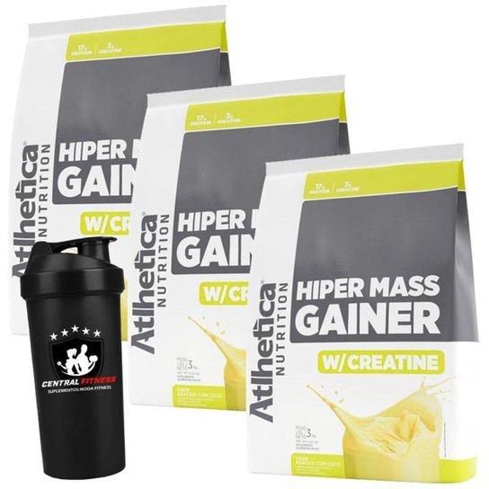 Combo 3x Hipercalórico Mass Gainer 3kg Atlhetica Nutrition + Coqueteleira -