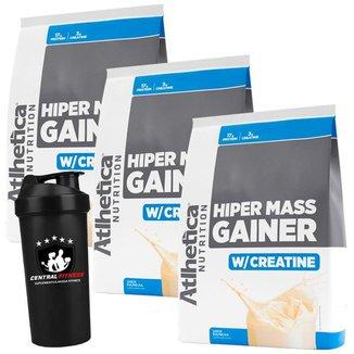 Combo 3x Hipercalórico Mass Gainer 3kg - Atlhetica Nutrition + Coqueteleira