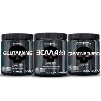 COMBO BCAA 280G + GLUTAMINA 300G + CREATINA 300G - BLACK SKULL
