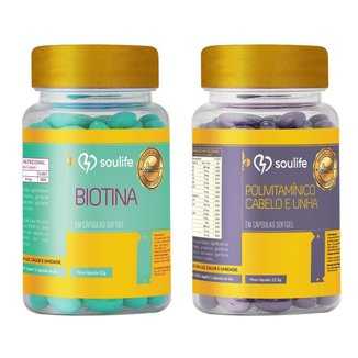 Combo - Biotina 60 caps + Polivitamínico Cabelo e Unha 30 caps - Soulife
