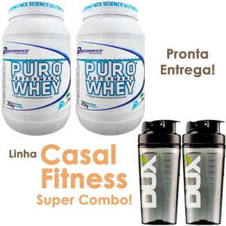 Combo Casal Fitness 2x Puro Whey Protein Concentrado Performance 909g + 2x Copos Dux