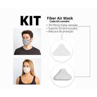 Combo com 2 kits de máscara Air Fiber rosa M e cinza G