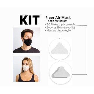 Combo com 2 kits de máscara Air Fiber rosa M e preta G