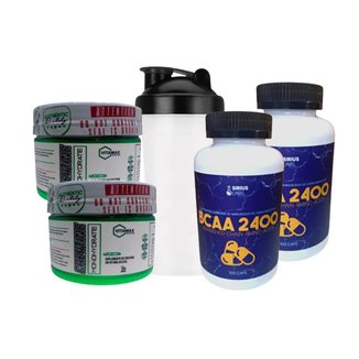 Combo Duplo Bcaa 2400 100caps + Creatina 100gr + Shaker