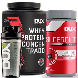 Combo Dux Whey Concentrado Pote 900g + Supercut 60 cápsulas + Copo Pronta Entrega