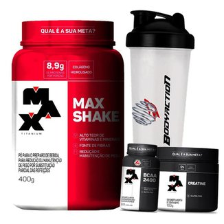 Combo Feminino Massa Muscular Max Titanium - Max Shake + Bcaa  + Creatina + Coqueteleira
