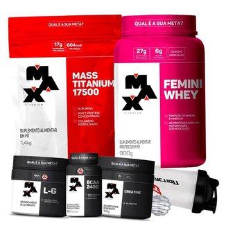Combo Feminino Whey Protein com Colageno + Hipercalórico Mass + Bcaa + Creatina + Glutamina - Max Ti