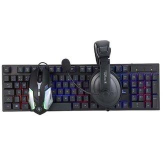Combo Gamer Teclado Mouse e Fone de Ouvido Headset 543 Bright
