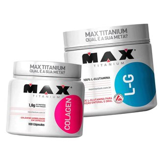 Combo Glutamina 300g + Colágeno 100 Cápsulas - Max Titanium