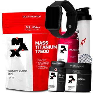 Combo Hipercalórico Massa Max Titanium + Creatina + Bcaa + Colageno + Relógio + Coq Ganho de Peso