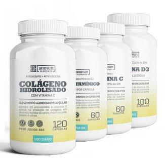 Combo Iridium Elements - Vitamina C + Vitamina D + Polivitaminico + Colágeno c/ Vit C