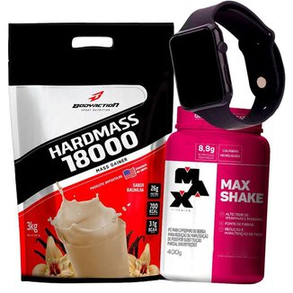 Combo Massa Hiper Calórico 3kg + Max Shake + Relogio Kit