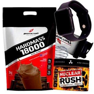 Combo Massa Hiper Calórico 3kg + Pre Treino Nuclear Rush + Relogio + Coqueteleira Kit