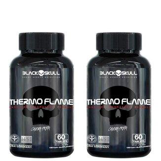 Combo Termogênico Cafeína 2x Thermo Flame 60 Tabs Cada - Black Skull