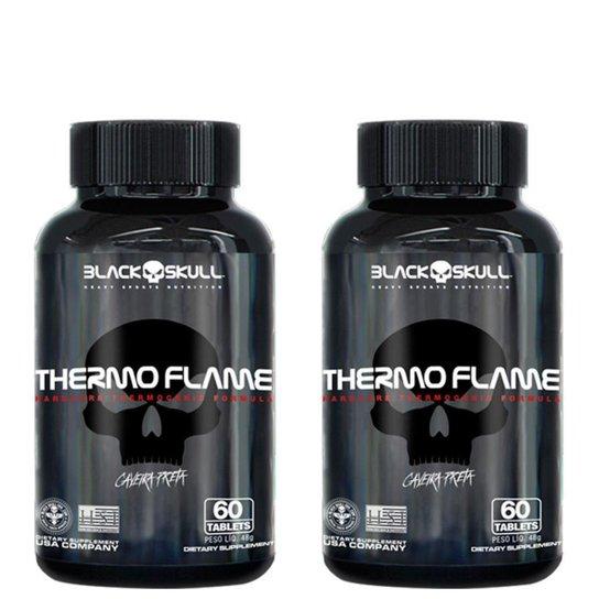 Combo Termogênico Cafeína 2x Thermo Flame 60 Tabs Cada - Black Skull -