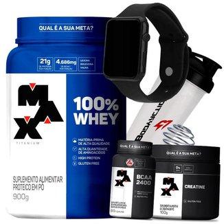 Combo Whey 100% Concentrado + Bcaa + Creatina + Relógio + Coq - Max Titanium Kit Wey
