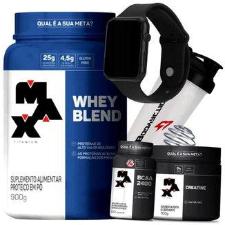 Combo  Whey Blend + Creatina + Bcaa + Relógio + Coqueteleira - Max Titanium Kit Wey