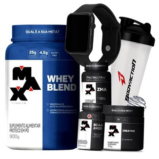 Combo Whey Blend + ZMA + Bcaa + Creatina + Relógio + Coq - Max Titanium Kit Wey