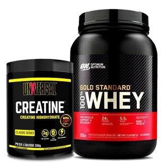 Combo Whey Gold Standard Optimum + Creatina 200g Universal Nutrition Kit Wey