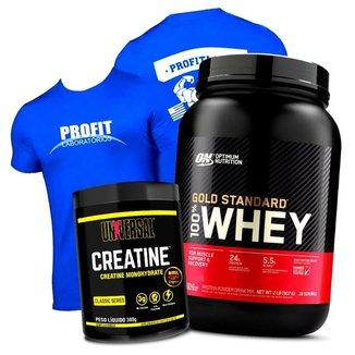 Combo Whey Gold Standard Optimum + Creatina Universal + Camisa Azul Profit Kit Wey