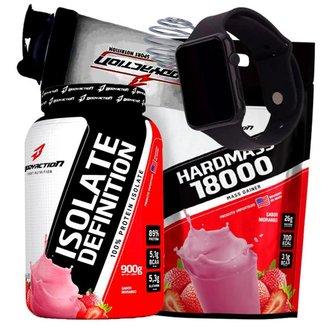 Combo Whey Isolado e Hipercalórico Massa 3kg BodyAction + Relogio + Coqueteleira Shaker Kit Wey