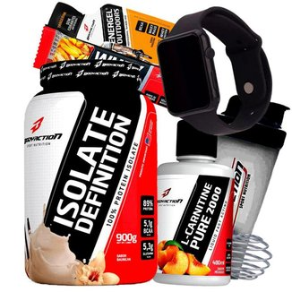 Combo Whey Isolado e L Carnitina BodyAction + Relogio + Coqueteleira Shaker Kit Wey