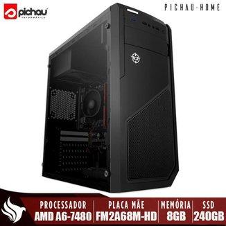Computador Completo Pichau, AMD A6-7480, 8GB DDR3, SSD 240GB, 500W + Monitor