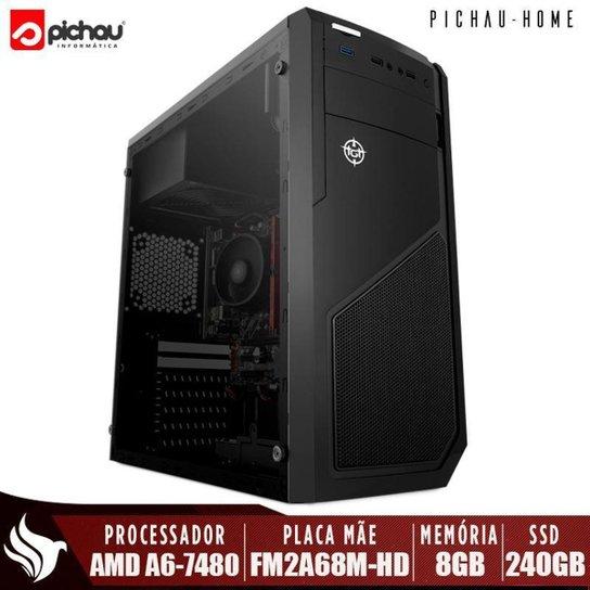 Computador Completo Pichau, AMD A6-7480, 8GB DDR3, SSD 240GB, 500W + Monitor - Preto