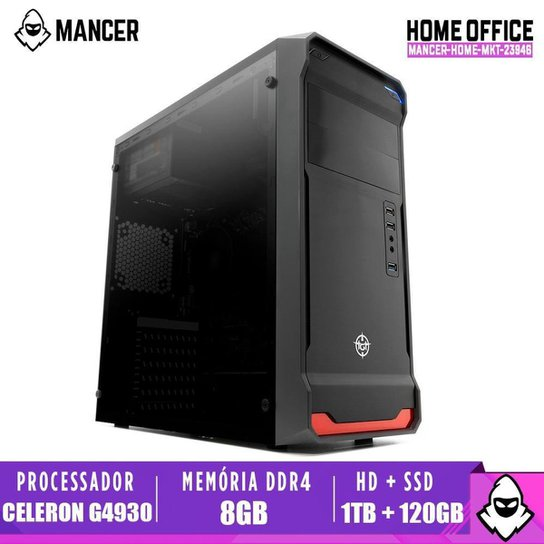 Computador Desktop Mancer, Intel Celeron G4930, 8GB DDR4, HD 1TB + SSD 120GB, 500W - Preto