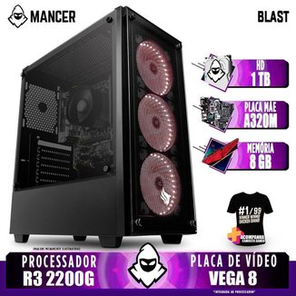 Computador Gamer Mancer, AMD Ryzen 3 2200G, A320M, 8GB DDR4, HD 1TB, 400W + Camiseta