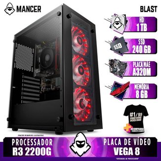 Computador Gamer Mancer, AMD Ryzen 3 2200G, A320M, 8GB DDR4, HD 1TB + SSD 240GB, 400W + Camiseta