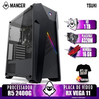 Computador Gamer Mancer, AMD Ryzen 5 2400G, A320M, 16GB DDR4, HD 1TB, 400W + Camiseta