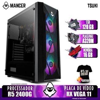 Computador Gamer Mancer, AMD Ryzen 5 2400G, A320M, 16GB DDR4, SSD 120GB, 400W + Camiseta
