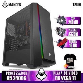 Computador Gamer Mancer, AMD Ryzen 5 2400G, A320M, 16GB DDR4, SSD 240GB, 400W + Camiseta