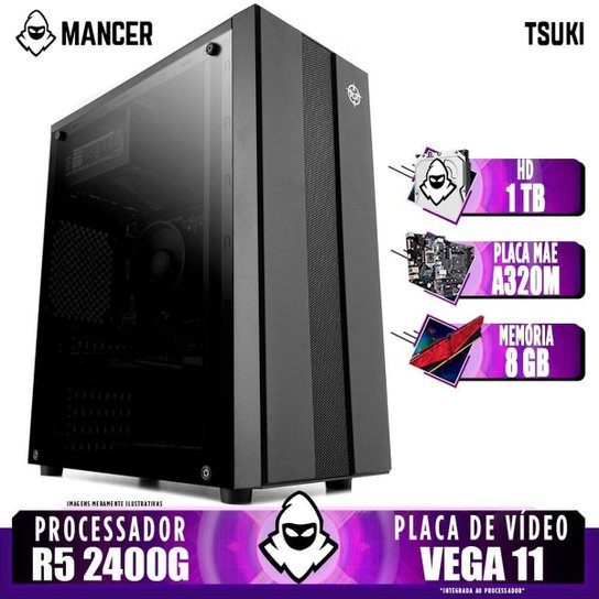 Computador Gamer Mancer, AMD Ryzen 5 2400G, A320M, 8GB DDR4, HD 1TB, 400W - Preto