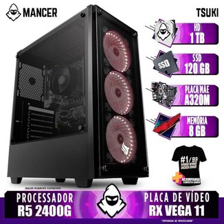 Computador Gamer Mancer, AMD Ryzen 5 2400G, A320M, 8GB DDR4, HD 1TB + SSD 120GB, 400W + Camiseta