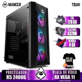 Computador Gamer Mancer, AMD Ryzen 5 2400G, A320M, 8GB DDR4, SSD 120GB, 400W + Camiseta